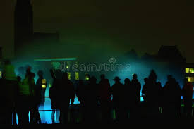 crowd of hologram water light show editorial stock