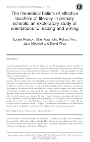 writing an effective research paper the theoretical beliefs of effective teachers of literacy in the theoretical beliefs of effective teachers of literacy in primary schools an exploratory study of orientations to reading and writing pdf download