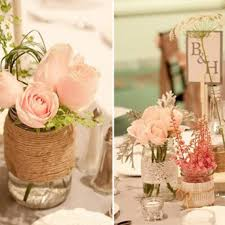 mason jar fall wedding centerpieces with pink roses ipunya