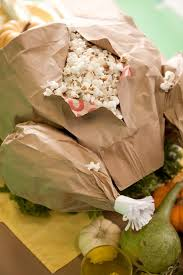 thanksgiving feast popcorn filled paper bag turkey
