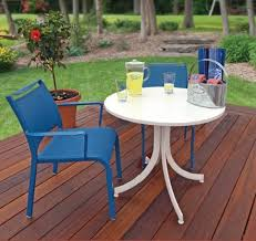 cing chair with table ratana fn42028 baci 28in round aluminum top folding table blue