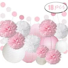 pink tissue paper 18pcs white pink tissue paper pom poms flowers paper lanterns and