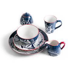 porcelaine peinte main creative vaisselle en céramique plaque main peint bleu bateau plat