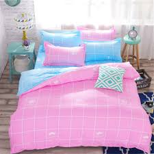 girls bed crown aliexpress com buy pink sky blue green plaid 3 4pcs printing