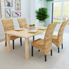 brown abaca handmade rattan dining chair set 4 sales online