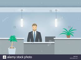 Flat Pack Reception Desk Young Man Receptionist Stands At Reception Desk Front View