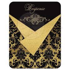 50th Wedding Anniversary Invitation Cards Wedding Response Card Black Damask Faux Gold Foil