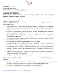 Objective Of Resume Examples by Sample Template Of An Excellent Company Secretary Resume Sample
