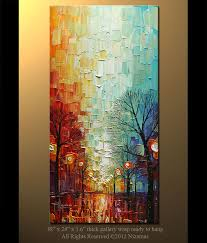 original abstract contemporary park lights oil painting heavy palette knife texture by paula nizamas ready to hang 48