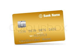 golden credit card on a white background stock photo colourbox