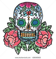 skull rose old retro tattoo stock vector 408080905