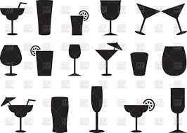 margarita clipart border silhouettes of juice and cocktail glasses vector clipart image