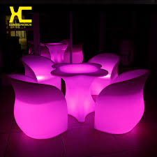 Plastic Bar Table Chargeable Remote Control Lighted Cordless Led Bar Table Chair Set
