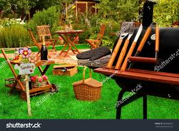 backyard bbq grill party picnic concept stock photo 285535637
