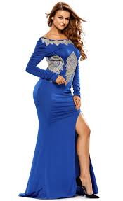 gold lace applique royal blue long sleeve prom dress stella dolls