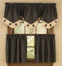 Country Style Curtains And Valances Country Kitchen Curtains Sturbridge Black Plaid 24 Tier