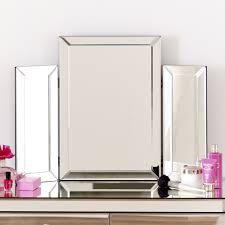 Vanity Mirror Uk Venetian Mirrored Dressing Table With Tri Sided Vanity Mirror Set
