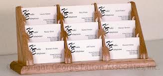 wooden business card stand light oak desktop holder