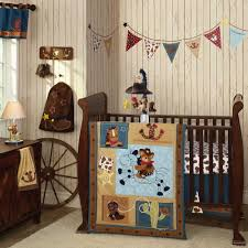 Nursery Interior Nuance Grey Wooden Wall With Brown Polished Wooden Cradle And Chest Of