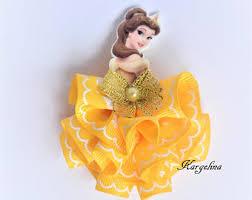 belle hair bow etsy