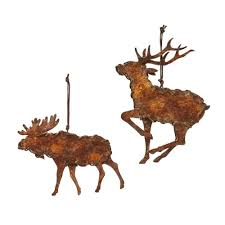 metal moose and reindeer ornaments set