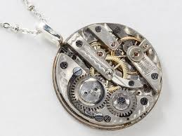 pendant engraving steunk clockwork necklace pocket movement with engraving