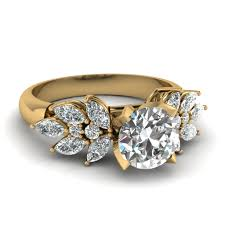 cut diamond engagement ring in 14k yellow gold fascinating