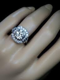 vintage 2 91 ct cushion cut diamond art deco engagement ring