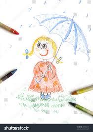 kid umbrella sketch kids colored stock illustration 45589234