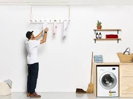 hanging drying rack ceiling mounted clothes line wooden
