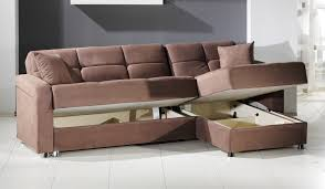 light brown microfiber sectional sleeper sofa with storage and
