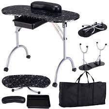 manicure nail table station costway black manicure nail table portable station desk spa beauty