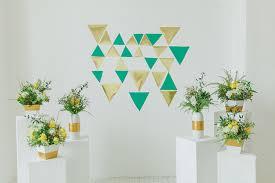 wedding unique backdrop geometric and simple planter pots create a unique wedding ceremony
