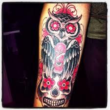 flower skull and owl