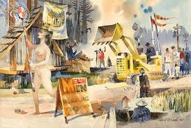 working 1963 a watercolor painting by robert e wood