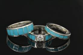 turquoise and wedding ring hileman silver jewelry turquoise wedding ring and moissanite