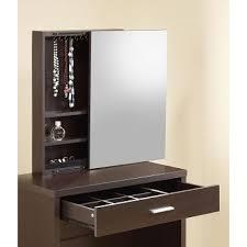 Vanity Storage Stool Cappuccino Vanity With Hidden Mirror Storage And Lift Top Stool