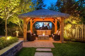 toronto screened in gazebo patio tropical with planting bed deck