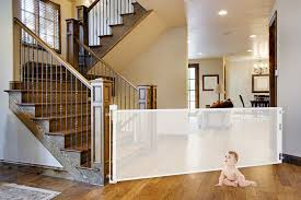 Safety Gates For Stairs With Banisters Smart Retract Retract A Gate Retractable Safety Gate For Kids And