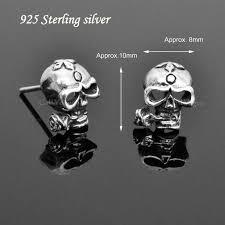 skull stud earrings sterling silver skull earrings callvogue