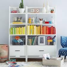 Modern White Bookcases Mid Century Bookshelf Narrow Tower West Elm