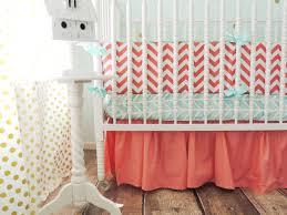 aqua and coral crib bedding with coral chevron bumper and aqua