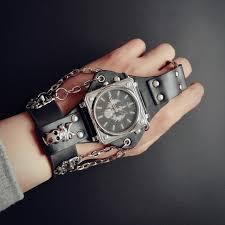 mens bracelet wrist watches images Hot new men punk skull black leather bracelet wrist watches with jpg