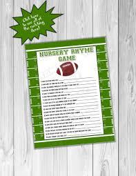 Large Baby Shower Games Football Baby Shower Games Nursery Rhyme Game Printable Instant