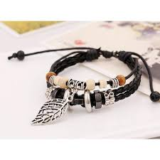 beaded bracelet leather images New 2017 leather leaf beaded bracelet personality jewelry high jpg