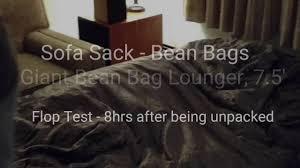 giant bean bag sofa sofa sack giant bean bag lounger 7 5 u0027 youtube