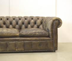 Vintage Brown Leather Chair Vintage English Dark Brown Leather Chesterfield Two Seater Sofa