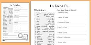 date writing worksheet worksheets dates spain write