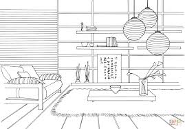 japanese style room coloring page free printable coloring pages