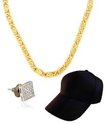 honey singh earrings buy stylish honey singh combo with gold plated chain black cap
